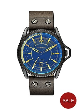diesel-rollcage-black-dial-and-black-ip-with-green-leather-strap-mens-watch