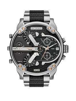 Diesel Stainless Steel and Black Leather Bracelet Mens Watch.