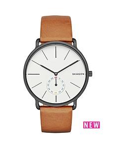 skagen-hagen-grey-stainless-steel-case-brown-leather-strap-mens-watch