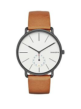 Skagen Hagen Grey Stainless Steel Case Brown Leather Strap Mens Watch