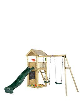 Plum Wooden Lookout Tower With Swings, Slide, Climbing Wall And Sand Pit