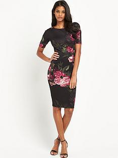 ax-paris-34-sleeve-statement-flower-midi-dress