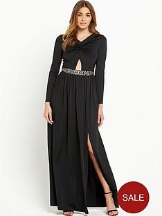 little-mistress-knot-front-maxi-dress