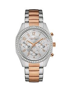 caravelle-new-york-chronograph-crystal-set-dial-two-tone-bracelet-ladies-watch