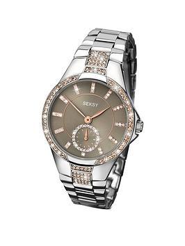 Seksy Grey Dial Champagne Crystal Set Stainless Steel Bracelet Ladies Watch