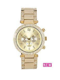 river-island-river-island-yellow-gold-tone-crystal-set-bezel-multilink-ladies-watch