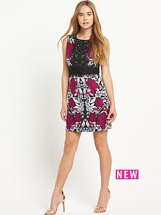 warehouse-print-and-lace-shift-dress