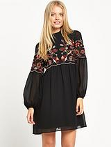 Embroidered Gypsy Smock Dress
