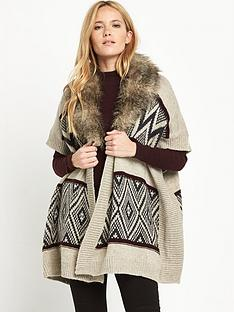 warehouse-faux-fur-collar-fair-isle-cardi-cape