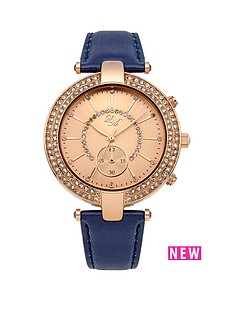 little-mistress-little-mistress-stone-set-rose-gold-tone-t-bar-navy-strap-ladies-watch