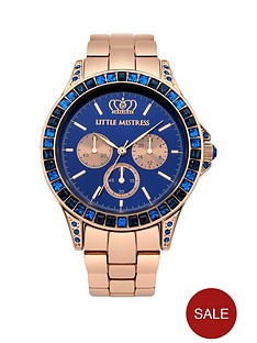 little-mistress-little-mistress-blue-stone-set-rose-gold-tone-bracelet-ladies-watch