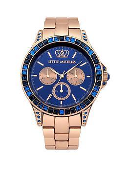 little-mistress-little-mistress-blue-stone-set-rose-gold-tone-bracelet-ladies-watch