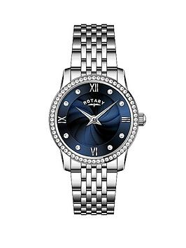 rotary-blue-crystal-set-dial-stainless-steel-bracelet-watch-and-crystal-circle-necklace-ladies-watch