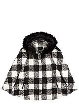 Checked Cape With Faux Fur Hood