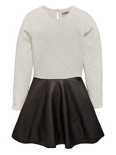 freespirit-girls-bubble-jacquard-dress-with-pu-skirt