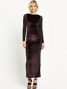ppq-cream-label-slash-neck-sheath-tartan-maxi-dress-redblack