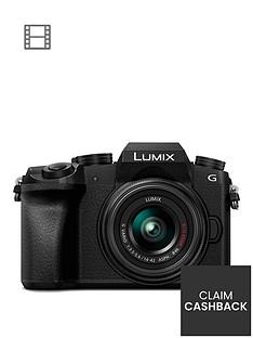 panasonic-dmc-g7-keb-k-compact-system-camera-with-14-42mmnbspoisnbsplens-4k-photo-4k-video-16mp-4x-digital-zoom-wi-fi-olednbspviewfinder-ampnbsp3-tilt-screen-display-with-pound50-cashback