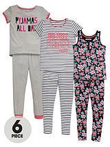 Girls Floral Pyjama Set (6 Piece)