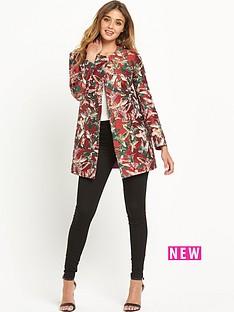 pinko-bird-print-jacquard-coat-red