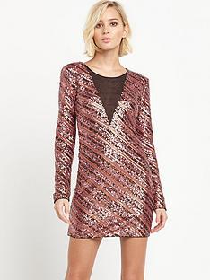 pinko-sequin-mesh-panel-dress-copper