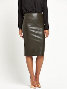 pinko-urania-leather-pencil-skirt-olive