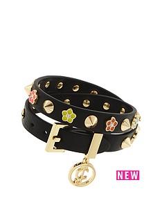 juicy-couture-flower-studded-wrap-bracelet-black