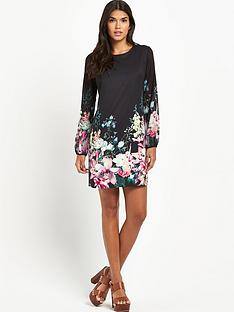 lipsy-long-sleeve-floral-detail-shift-dress