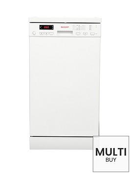 sharp-qws22f472wnbsp10-place-slimline-dishwasher-white