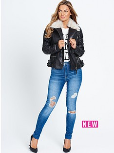 samantha-faiers-shearling-collar-leather-jacket