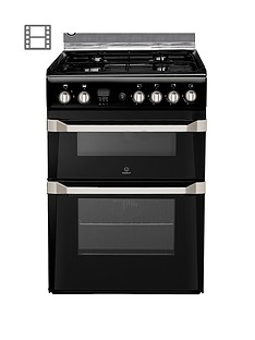 Indesit ID60G2K 60cm Gas Cooker Double Oven with FSD - Black