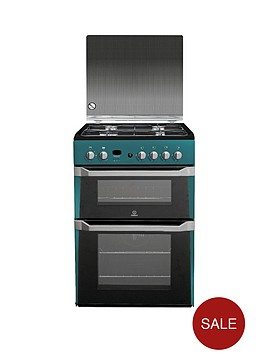 indesit-id60g2n-60cm-gas-cooker-double-oven-green