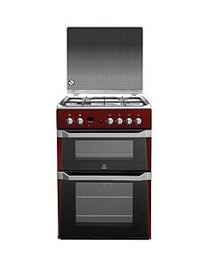 Indesit ID60G2R 60cm Gas Cooker Double Oven - Red