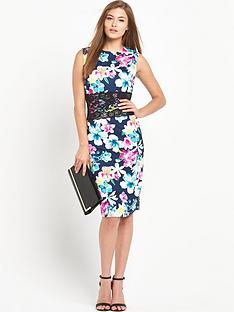 definitions-lace-insert-printed-mini-dress