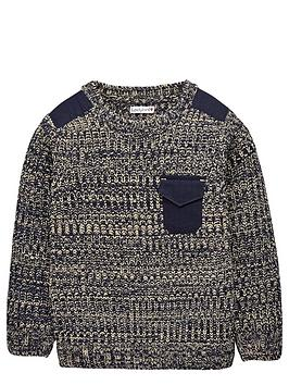 Ladybird Boys Twisted Knit Jumper with Shoulder Patch - 12 months - 7 years