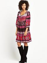 Long Sleeve Paisley Print Gypsy Dress