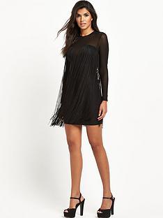 rare-fringed-mesh-bodycon-dress