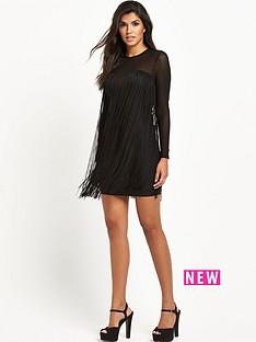 rare-rare-fringed-mesh-bodycon-dress