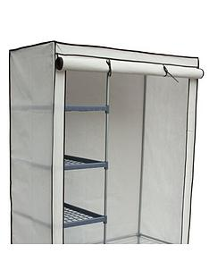 Double Canvas Wardrobe with Shelves