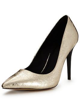 Shoe Box Pointed Stiletto Metallic Court Shoe