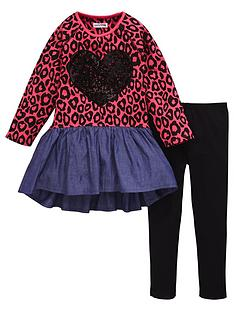 ladybird-girls-animal-print-and-chambray-dress-with-leggings-set-2-piece-12-months-7-years