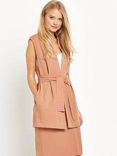 miss-selfridge-miss-selfridge-nude-judo-wrap-sleeveless-jacket