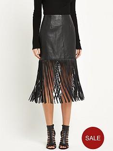miss-selfridge-fringe-leather-skirt