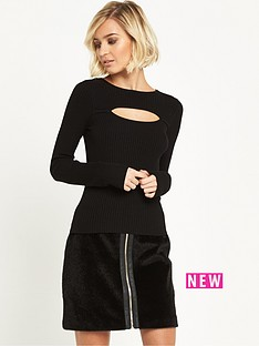 miss-selfridge-split-front-jumper