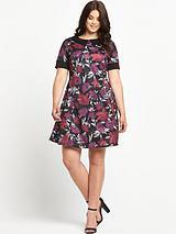 Print Collar Scuba Tea Dress