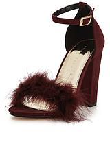 Velma Faux Fur Trim Minimal Block Heel Sandal