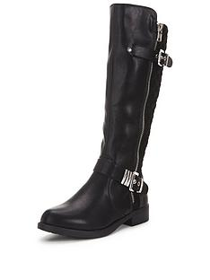 shoe-box-trixienbspknee-biker-boots-with-zip-and-buckle-detailnbsp