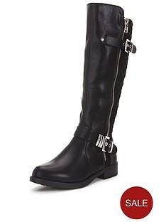 shoe-box-trixienbspknee-biker-boots-with-zip-and-buckle-detailnbsp