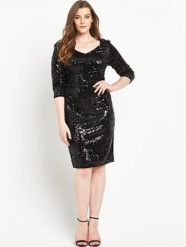 So Fabulous All Over Sequin V-Neck Dress