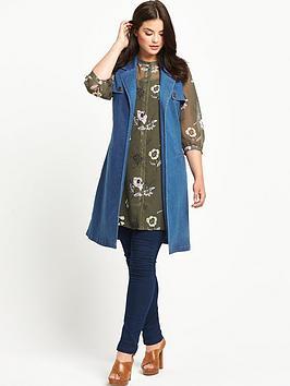 So Fabulous Sleeveless Denim Belted Jacket
