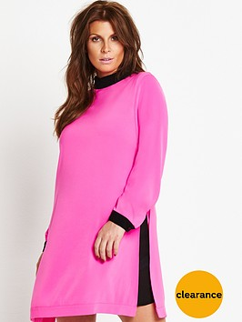 coleen-long-sleeve-contrast-lining-dress